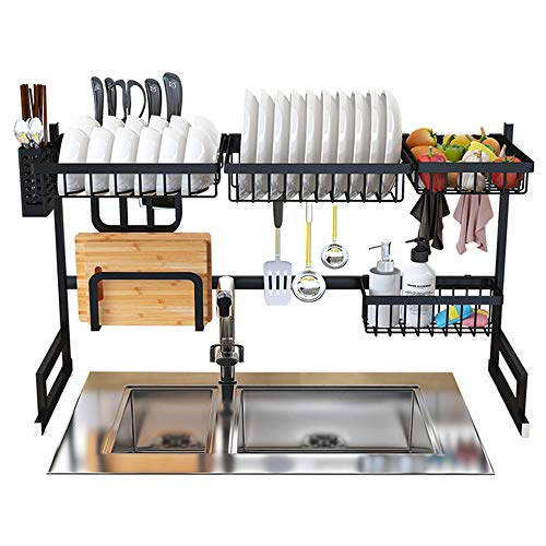 Dish Drying Rack Over Sink Kitchen Supplies Storage Shelf Countertop Space Saver Display Stand Tableware Drainer Organizer Utensils Holder Stainless Steel, ()
