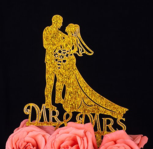 (LOVENJOY with Gift Box Bride and Groom Couple Silhouette Mr Mrs Wedding Engagement Cake Decoration Topper (5-inch, Gold Glitter))