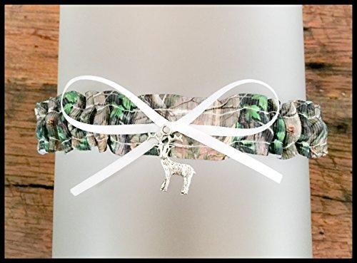 White Satin Wedding Garter - Camouflage White Satin Wedding Bridal Camo Toss Demi Garter - Deer Charm