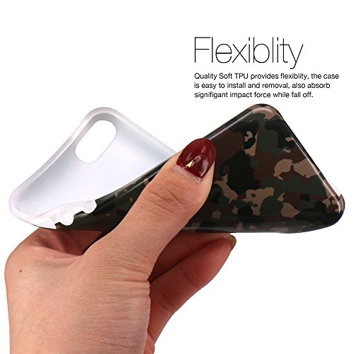 iPhone 5 Hülle, JIAXIUFEN Braun Tarnung Camo Serie Flexible TPU Silikon Schutz Handy Hülle Handytasche HandyHülle Etui Schale Case Cover Tasche Schutzhülle für Apple iPhone 5 5S SE