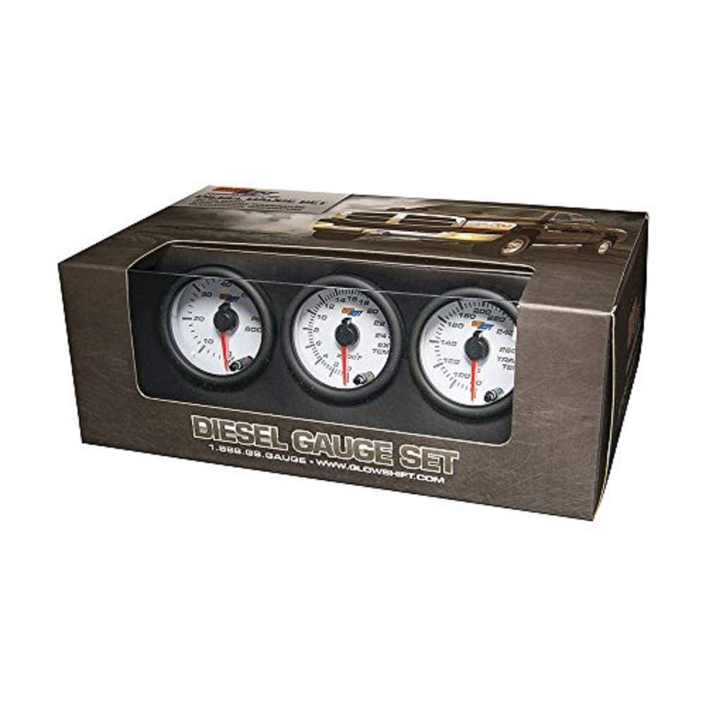 GlowShift White 7 Color Diesel Truck 3 Gauge Kit Set - 60 PSI Boost - 2400 F Pyrometer Exhaust Gas Temp EGT - Transmission Temperature - White Dial - Clear Lens - 2-1/16' 52mm GlowShift Gauges FBA_GS-W7-DS10-SM