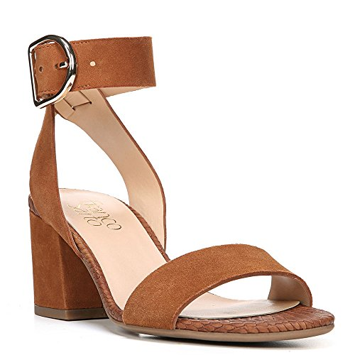 Franco Sarto Womens Marcy Ankle Strap Sandal Whiskey Diva Suede Us 4 M