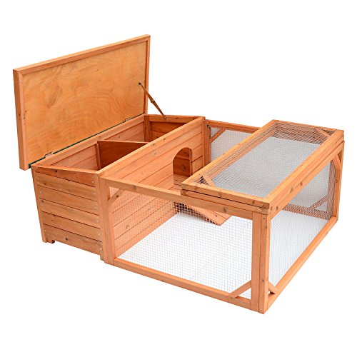 Pawhut Small Wooden Bunny Rabbit & Guinea Pig / Chicken Coop w/ Outdoor Run by PawHut (Image #5)