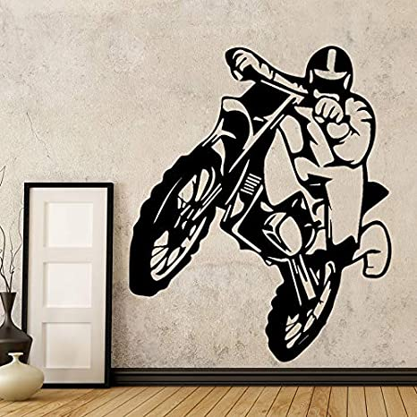 Ajcwhml Motocicleta Creative Earth Bike Motocicleta Vinilo Adhesivo de Pared para niños Home Motor Extraíble Wall Decal Dormitorio Decoración Mural