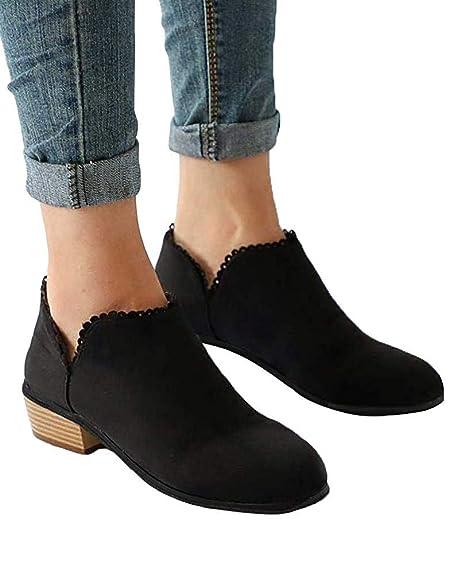Minetom Mujer Otoño Invierno Botas Cortas Elegante Cómodas Cordón Tacón Ancho Zapatos Chic Slip On Botines Puntera Redonda Chelsea Martin Bootie: Amazon.es: ...