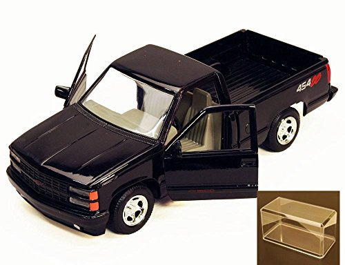 454ss Pickup (Diecast Car & Accessory Package - 1992 Chevy 454SS Pick Up Truck, Black - Motormax 73203 - 1/24 Scale Diecast Model Car w/display case)