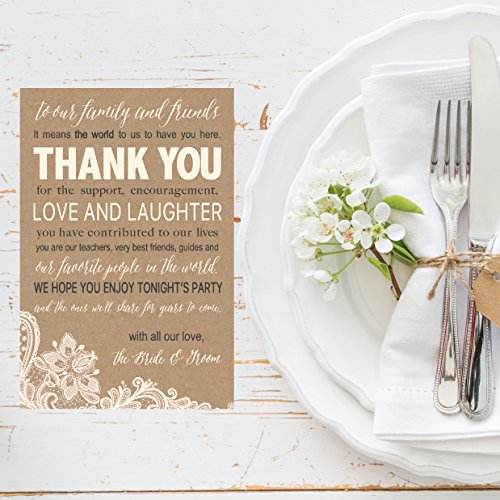 50 Wedding Kraft Thank You Place Cards, Rehearsal Dinner Thank You Table Sign, Menu Place Setting Card Notes, Placement Thank You Note Favors For Family & Guests Photo #5