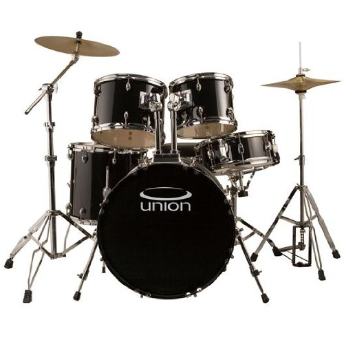 Union DB5770(BK) 5 Piece Jazz/Rock/Blues Drum Set with Hardware Cymbals and Throne – Black