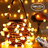 Globe String Lights, QcoQce 100 LED Fairy Lights with Remote Controller, Battery Operated,8 Flash Modes, Waterproof Outdoor Lights for Christmas Garden Bedroom Party Holiday(Batteries Not Included)
