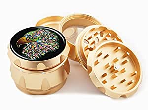 "Eagle Design Premium Grade Aluminum Tobacco,Herb Grinder -4Pcs Large (2.5"" Gold) # GLD-110514-0024"