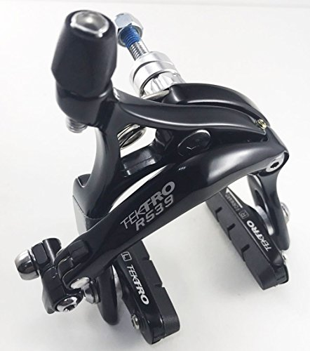 (Tektro R539 Dual Pivot Road Brake Caliper Long arms 47-59mm( Nutted / Hex nut) Old School Nut - Front/ Rear/ Set/ Silver, Black (Black, Front Wheel))