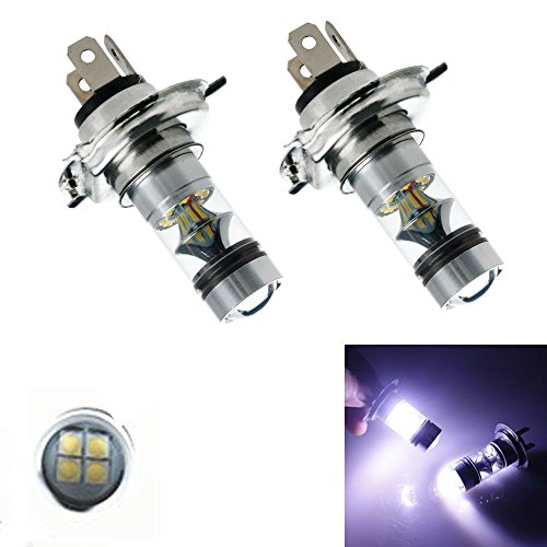 XT AUTO 2x H4 9003 8000K 100W LED 20-SMD Cree Projector Fog Driving DRL Light Bulbs HID White