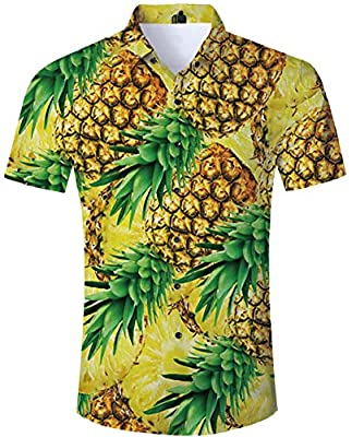 TUONROAD Men's 3D Printed Hawaiian Shirt Relaxed Regular Casual Short Sleeve Shirt Beach Holiday Aloha Button Down Shirt