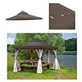 GC Global Direct 12 X 12 ft Garden Gazebo Replacement Canopy Top Brown (Brown)