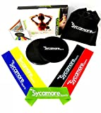 Sycamore Sports Exercise Resistance Loop Bands (Set of 5, Natural Latex), Dual Sided Gliding Discs (Set of 2), Lightweight Workout Equipment for Home,