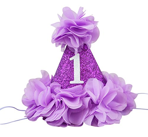 PoshPeanut Beautiful Baby Crown Headband Princess First Birthday Cone Hat Sparkle Purple and Lavender Made in the (Homemade Christmas Costume Ideas Men)