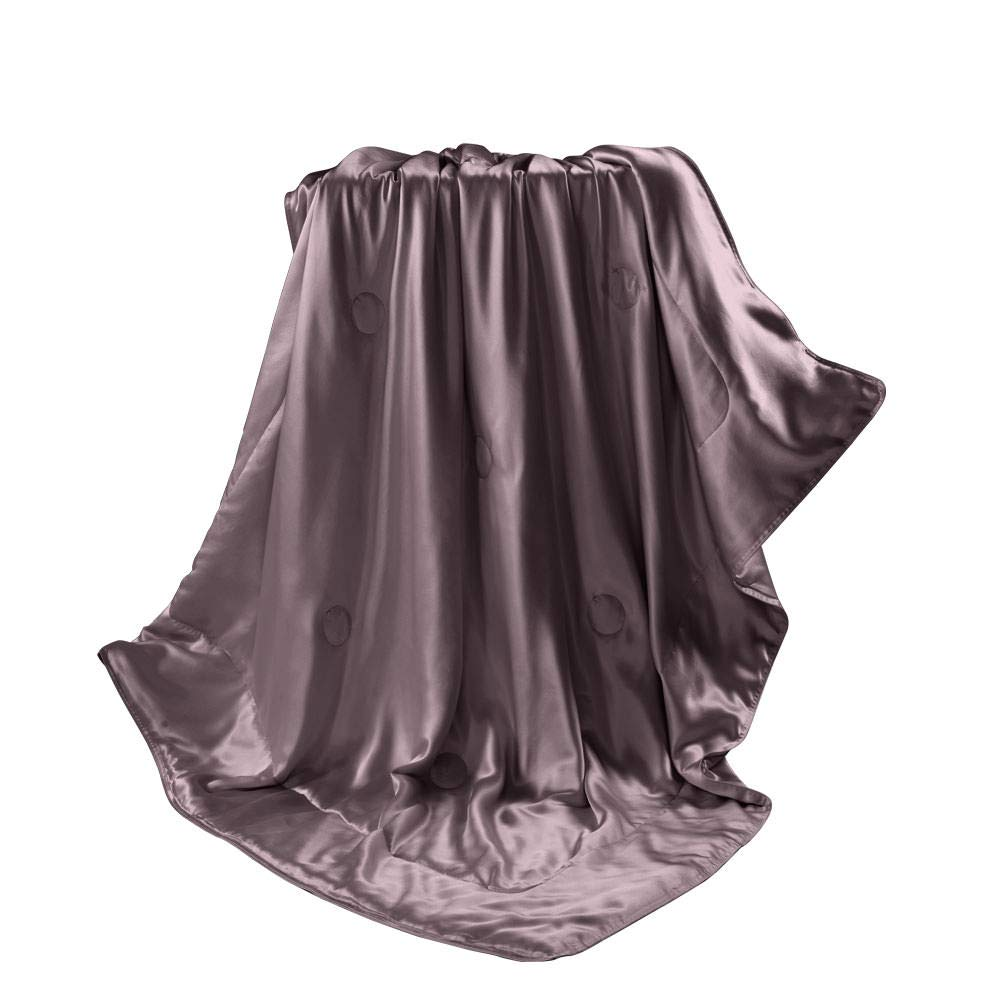 THXSILK 100% Mulberry Silk Inside and Out Luxury Throw Blanket for Sofa Office Travel Children (53x70 inch, Purple) by THXSILK