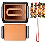 GOTHAM STEEL Smokeless Electric Grill, Griddle, and Pitchfork, Indoor BBQ and Nonstick As Seen On TV (Original) (Renewed)