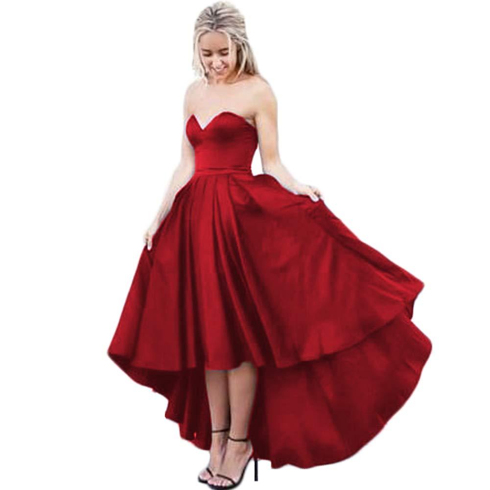 Burgundy XKYU Women's Sweetheart High Low Satin Prom Dresses ALine Ruffled Sleeveless Luxury High Waist Evening Dresses
