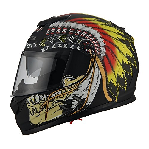 Triangle Motorcycle Street Bike Dual Visor Helmets DOT Approved (Indian Yellow, - Indian Streets