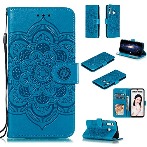 (Cfrau Wallet Case with Black Stylus for LG Stylo 4/Stylus 4,Beautiful Mandala Sunflower Embossed PU Leather Magnetic Flip Stand Soft Silicone Card Slots Case with Wrist Strap - Blue)
