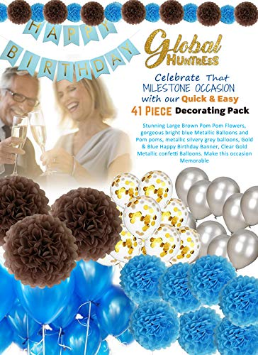Milestone Party Celebrations Brown - Silvery Grey - Blue & Gold Confetti Balloons, Paper Pom Poms, Birthday Banner Party Decorations for 18th, 21st, 30th, 40th, 50th, 60th, 75th, 80th ()