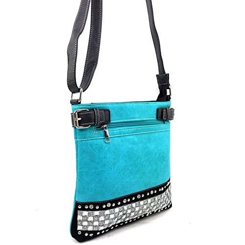Rhinestone Pastel Crystal Zipper Concealed Carry Turquoise Purse West Messenger Body Cross Bling Handbag Justin twYqTRB