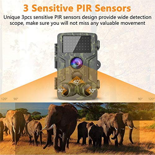 Trail Camera 12MP 1080P Waterproof Hunting Scouting Cam for Wildlife Monitoring with Motion Activated Night Vision up to 65ft/20m, 120°Detect Range, 36pcs 940 Infared LEDs, 0.3s Trigger Speed