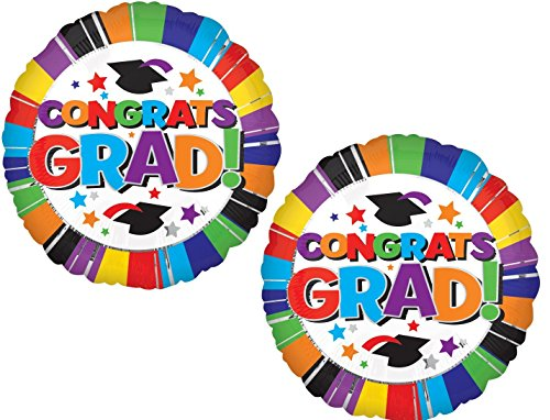 Congrats Grad! Graduation Caps and Stars Balloons New Graduate High School College - Set of 2 Foil 18