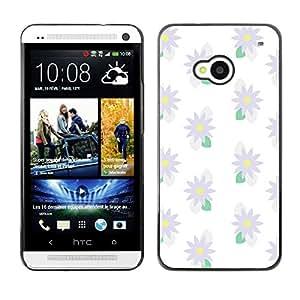 For HTC One M7 - White Sun Floral Daisy Flower /Modelo de la piel protectora de la cubierta del caso/ - Super Marley Shop -