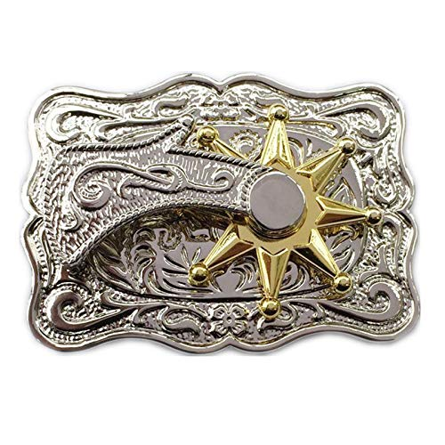 69c482284fa Rodeo 3D Spinning Star Spur Spin Silver Belt Buckle for Men Women Western  Cowboy Creative Thanksgiving Days Gift