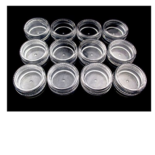 ALL in ONE Acrylic Clear Storage Containers with Lids for Beads Jewelry Findings Small Sample (3 Gram-12pcs)