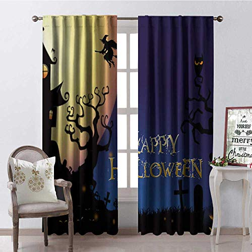 Hengshu Happy Halloween Night Multicolor Room Darkening Wide Curtains Waterproof Window Curtain W72 x L108]()