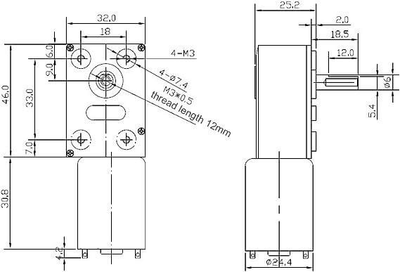 10 RPM Akozon haute vitesse de torsion r/éduit le moteur de bo/îte de vitesses /électrique moteur /à engrenages /à vis sans fin r/éversible arbre 8mm 12 V Moteur /à engrenages /à vis sans fin