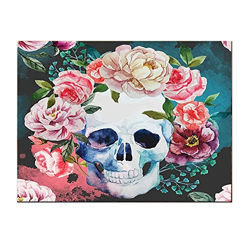SATVSHOP Home Decoration painting-24Lx24W-Big Flowers and Skull Dign Skeletons All Saints Day Halloween Image Soft Purple Pink Green.Self-Adhesive backplane/Detachable Modern Art. -