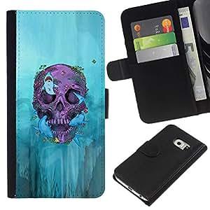 All Phone Most Case / Oferta Especial Cáscara Funda de cuero Monedero Cubierta de proteccion Caso / Wallet Case for Samsung Galaxy S6 EDGE // Biker Graffiti Skull Death Deep Rock