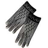 ZaZa Bridal Crochet Women's Gloves w/Delicate Detail Trim-Victorian+Regency-Black