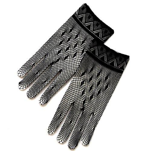 Crochet Women's Gloves w/Delicate Detail Trim-Victorian+Regency
