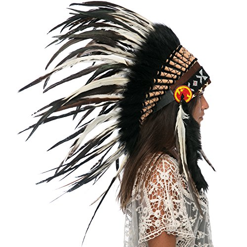 Indian Medicine Man Costume (Feather Headdress- Native American Indian Inspired- Handmade by Artisan Halloween Costume for Men Women with Real Feathers - Natural Rooster)