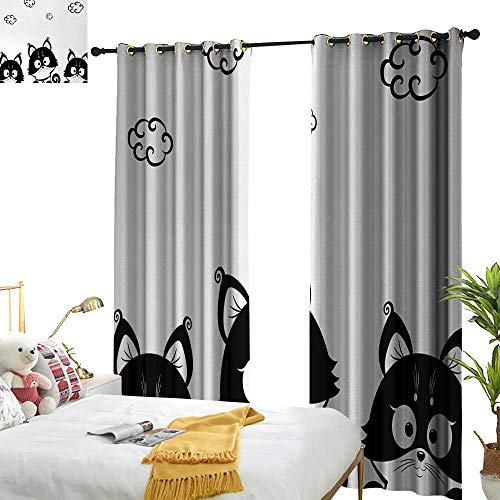 Black and White Light Luxury high-end Curtains Cute Three Kittens with Clouds Over Their Heads Small Thoughts Art Home Garden Bedroom Outdoor Indoor Wall Decorations 97