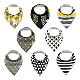 ALVABABY Bandana Drool Bibs 8 Pack of Drooling Teething Feeding,Super Absorbent 100% Cotton