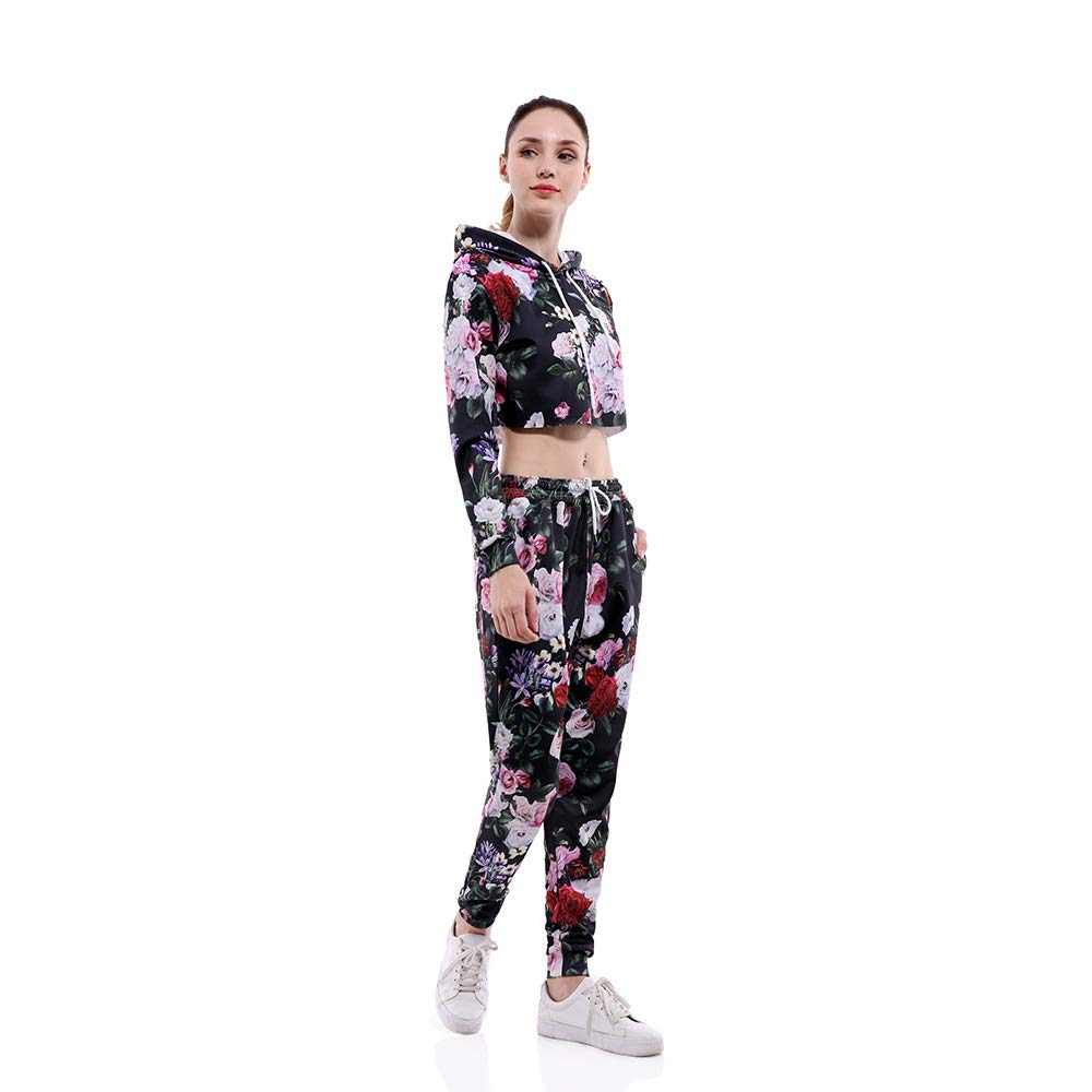 JJCat Women's 2 pcs Flowers Crop Tops Long Sleeve Active Casual Hoodie and Sweatpant Tracksuit Set