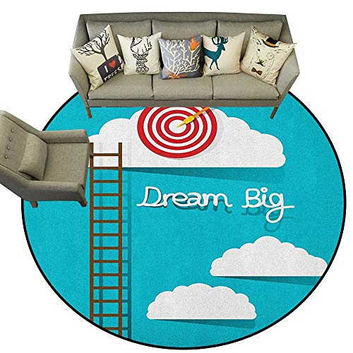 (Inspirational,Mat Dream Big Phrase with Dart Board Fluffy Clouds Staircase Optimistic Attitude D72 Indoor/Outdoor Rubber Mat)