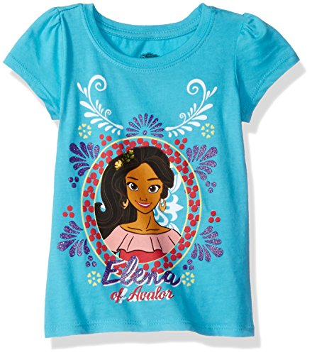 Disney Little Girls' Toddler Elena of Avalor Short-Sleeved T-Shirt, Aqua Turquoise, - Com Warehouse Clothing