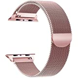 Scara Band for Apple Watch Bands 42mm iWatch Series 3/2/1 Milanese Stainless Steel Loop Metal Replacement Accessories Bracelet Band with Unique Magnet Lock Pink