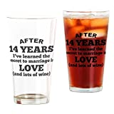 CafePress - 14 Years Of Love And Wine - Pint Glass, 16 oz. Drinking Glass