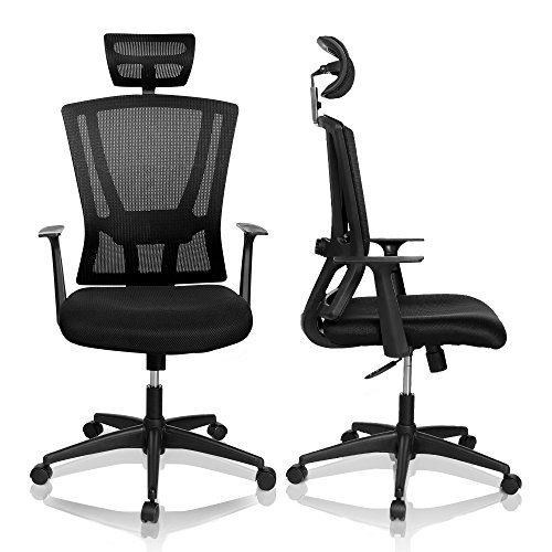 Executive L-shape Desk Height (Homdox High Back Ergonomic Mesh Office Chair with Headrest & Armrest for Home Office and Conference Room (Black) (black 2))
