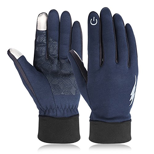 Winter Gloves, HiCool Touchscreen Gloves Men Women Running Driving Gloves Thermal Gloves (XL, Dark Blue)