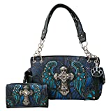 HW Collection Western Camo Camouflage Rhinestone Cross Angel Wings Concealed Carry Handbag and Wallet Set (Blue)