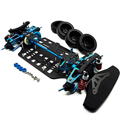 RCLions Aluminium Alloy&Carbon Fiber Shaft Drive 1/10 RC 4WD Touring Car Frame Chassis Kit for Tamiya TT01 TT01E ()